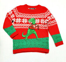 33 Degrees Boys Dinosaur Ugly Christmas Sweater Size 6 Preowned