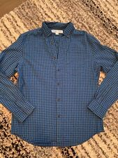 Old Navy Every Day Shirt Slim Fit Medium Blue Checkered