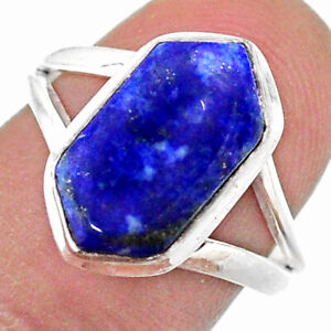 925 Silver 5.24cts Solitaire Natural Lapis Lazuli Hexagon Ring Size 8 T48513