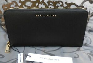 MARC JACOBS ~Textured Leather Large Zip Around Continental Wallet~BLACK~NWT $160