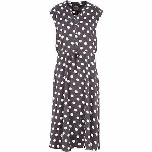 ANNE KLEIN Women's polPolka Dot Midi Dress, Grey/White, size UK 14