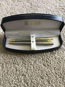 Bill Blass Ball Point Pen & Pencil Set - Gold Silver  Trim - New in Box