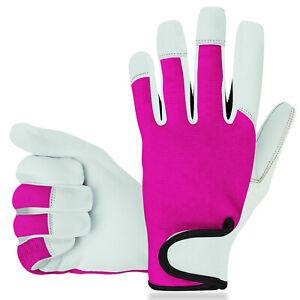 Ladies / Mens Leather Gardening Gloves Thorn Proof Garden work gloves Pink