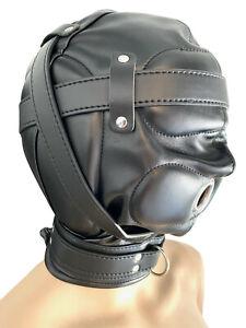Leder Kopfmaske gepolstert Hood Isolations Maske schwarz Bondage