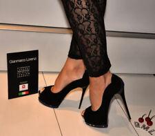 Gianmarco Lorenzi - sexy black/blue Plateau open toe Stiletto  39 - NEU!