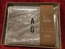 """New In Box West Elm Metallic Silver Soft Leather Zip Clutch Bag """"AG"""""""