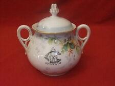sucrier service porcelaine émaux décor fleurs pot monogramme bonbonnière vitrine