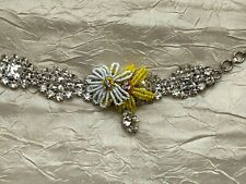 Christian LACROIX Summer BRACELET Rhinestones with yellow &white glass beads
