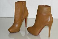 $1075 NEW Christian Louboutin MAMANOUK BOOTS lt Brown Camel HIDDEN Platform 39.5