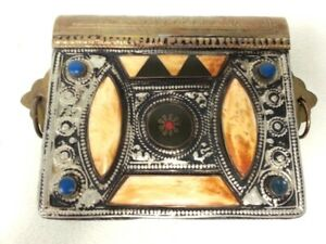 Small Ornated Vintage Hinged Brass Box Inscribed Foreign