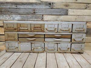 Vintage Equipto 18 Drawer Industrial Metal Storage Parts Cabinet Dividers