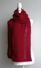 Maroon Pure Wool Hand Knitted Cable & Lace Scarf - 'Allegra'.