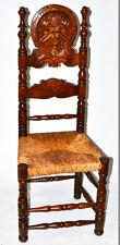Antico Gotico FAGGIO & RUSH per sedia con poggiatesta Intagliato [pl2238]