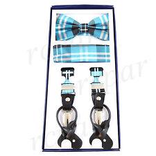 New Y back Men's Vesuvio Napoli Suspenders Bowtie Hankie Plaid Turquoise Black