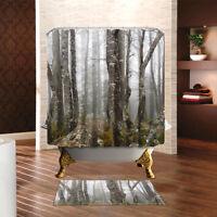 3D Virgin Forest Landscape Natural Plant Waterproof Shower Curtain Bathroom Rugs