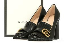 NEW GUCCI CURRENT LUXURY DOUBLE G BUCKLE BLACK LEATHER HEELS SHOES 36/US 6