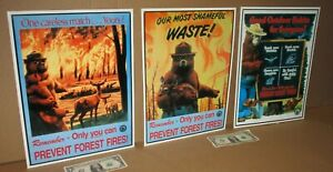 SMOKEY THE BEAR -Full Set of 3 for One Bid- FOREST FIRE Embossed Tin Metal Signs