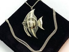 Lovely Vintage Sterling Silver Angel Fish Pendant Locket Necklace