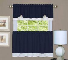 Rich Navy Textured Dual Layer 3 Piece Tiers & Window Valance Curtain Set,Modern