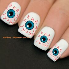 Halloween Nails Bloodshot Eyeball Nail Art Decals Water Transfers Stickers #738