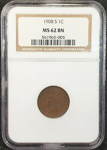 1908-S Indian Head Cent NGC MS62 561965-005 Exquisite Coin Rare