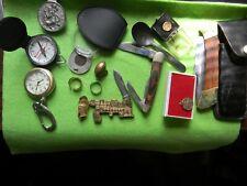 vintage junk drawer lot compass stealing ring knifes other 14 item