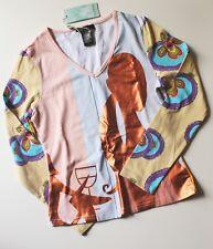 CUSTO BARCELONA V-NECK SHIRT S Colorful Euro Print Long Sleeve T-shirt Top Tee