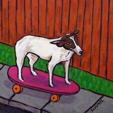 rat terrier dog art tile coaster gift modern folk skaTeboarding gift