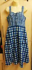 New BNWT Monsoon juliette organic  cotton SEW dress Sz 12 cobalt blue check