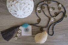 Tassel Necklace Long Cowrie Shell Coins Bronze Grey Beads Beach Wear Resort Boho