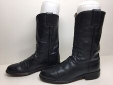 WOMENS JUSTIN WESTERN ROPER LEATHER DARK GRAY BOOTS SIZE 6.5 B