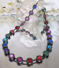 Halskette Kette Hämatit schwarz umrahmt  marmorierte Perlen bunt  486k