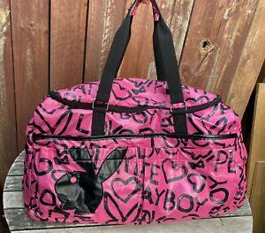 Vintage 90s Y2K Playboy Peace Love Pink Duffle Bag Duffel