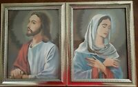 Jesus & Mary COMPLETED PBN FRAMED Palmer-Pann 1960 religious paint by number VTG