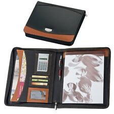 A4 Zipped Bonded Leather Black & Brown Writing Case Conference Folder Executive