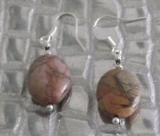 PICASSO JASPER CRYSTAL GEMSTONE EARRINGS, BROWN, DROP, PIERCED, NEW, AUSTRALIAN