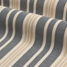 Boston Stripe Navy | Natural 100% Cotton Romo Style Fabric | Curtains Upholstery