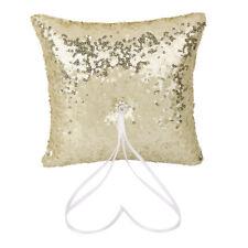 Wedding Ring Pillow Satin Ribbon Rhinestone Sequin Bearer Pillow Gold