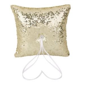 Wedding   Pillow Satin Ribbon Rhinestone Sequin Bearer Pillow Gold
