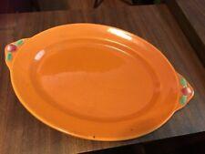 "Coors Rosebud Pumpkin Orange Tab -Handled Oval Serving Plate, 13""l x 9 1/4""w"