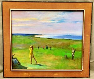 British / Scottish / Irish  impressionist oil painting of golf match signed ??