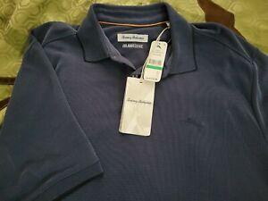 Tommy Bahama Polo Shirt Coastal Crest Ocean Deep Blue NWT Large Tall LT BT223471