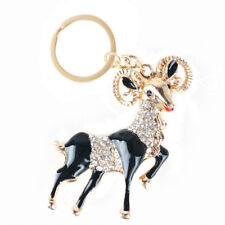 Black Goat Sheep Rhinestone Pendant Charm Crystal Key Ring Chain Lovely Gift