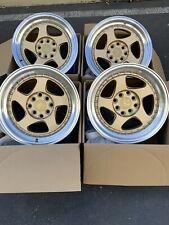 15x8 +20 AodHan AH01 4x100/114.3  Gold  Wheels Rims (Used Set)