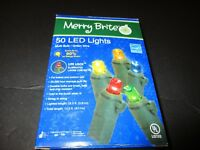 CHRISTMAS 50 LED LIGHTS MULTI BULB GREEN WIRE