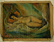 Original 1950s Lester Molleson Fine Art Oil Painting Modernist Reclined Nude