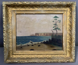 Antique ROCKY COAST Old SHORE Waves & Bluffs SEASCAPE Oil BEACH Cliff PAINTING