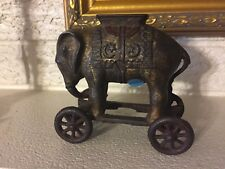 VINTAGE CAST IRON A.C. WILLIAMS ELEPHANT ON Platform w WHEELS bank