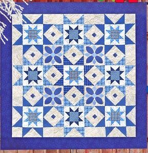 Midnight Blue - pieced and applique quilt PATTERN - Me & My Red Boots