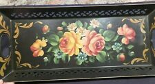 Folk Art Vintage Floral on Black Toleware Hand Painted Tray 21.375x9.2.5""